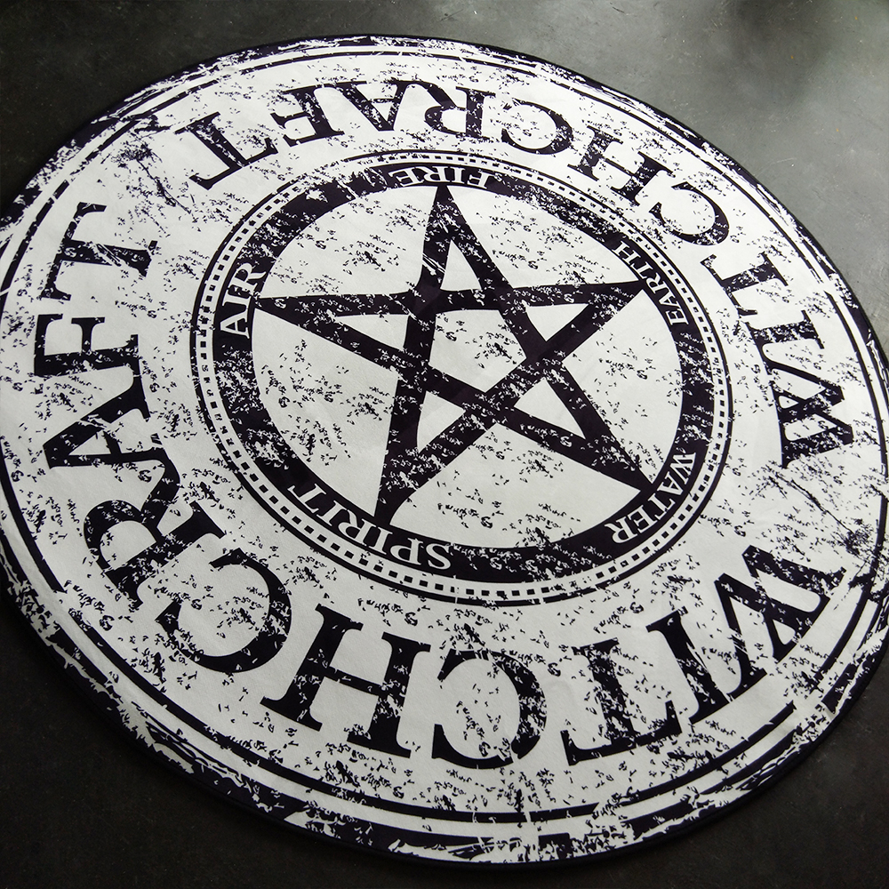 Fashion Modern Black White Pentagram Letters Round Chair Desk Anti Slip Mat Living Room Bedroom Area Rug Decorative Carpet My Sweet Home