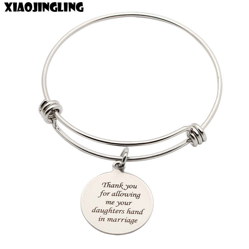 XIAOJINGLING Stainless Steel Bracelet Thank You For Allowing Me Your Daughters Hand In Marriage Gifts For Mother/Father In Law