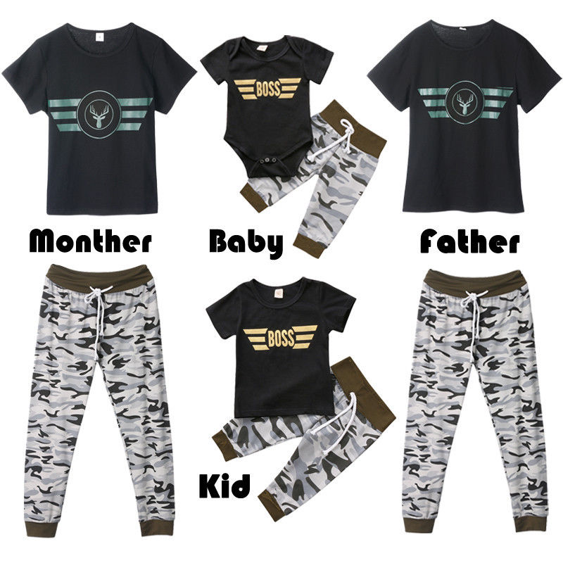 Family Matching Women Man Kid Clothes Tops Romper Camo Pants Outfits Set