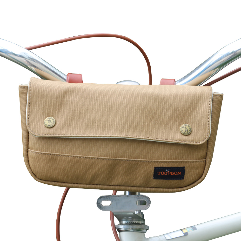 Tourbon Vintage Bicycle Lenkertasche Cycling Front Phone Pouch Mehrzweck-Fahrradzubehör Brown Waxed Waterproof Canvas