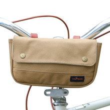Tourbon Bicycle Handlebar Bag Front Pouch Canvas & Leather Bike Panniers Waterproof Storage Case Brown tourbon vintage bicycle handlebar bag cycling backpack frame case full genuine leather pouch bike accessories