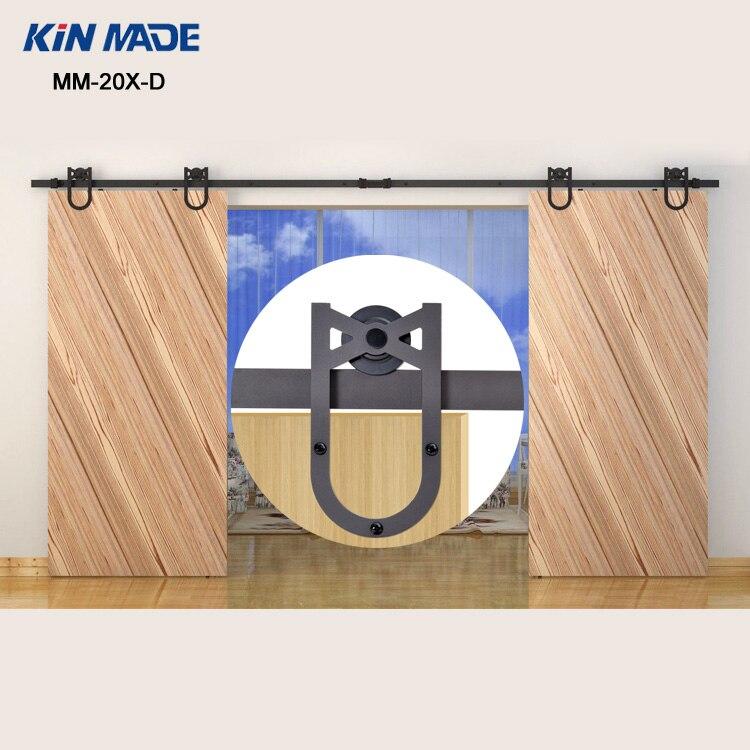 KIN FAIT MM-20X-D Double Coulissante Grange Porte Heavy duty moderne en bois coulissante grange quincaillerie de porte