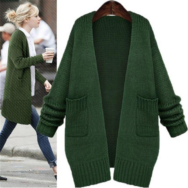Europe Street Style Cardigans Knitted Sweaters 2017 Women Fashion Loose  Pockets Cardigan Jacket Long Sweater Coats