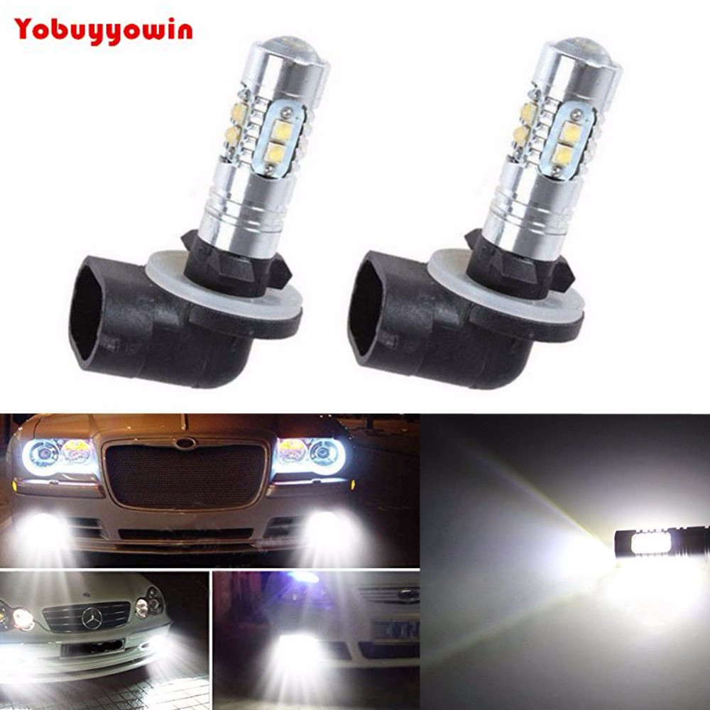 2x 6000K White High Power 2323 SMD 881 886 889 894 H27 PGJ13 LED Fog Driving Light Bulbs 600LM 2pcs xenon hid white 25w high power 5 xcree xp e chips 881 h27 pgj13 led fog light driving drl bulbs