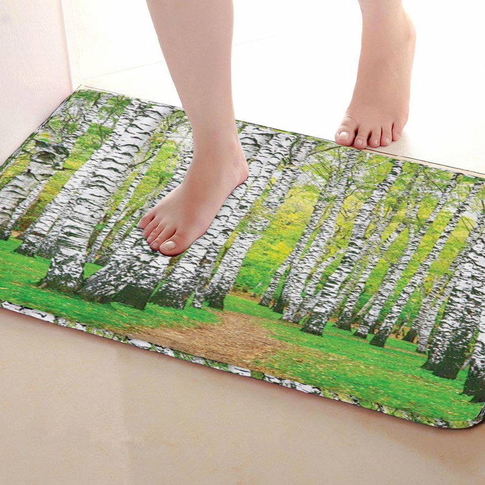 Birch forest Style Bathroom Mat,Funny Anti skid Bath Mat,Shower Curtains Accessories,Matching Your Shower Curtain