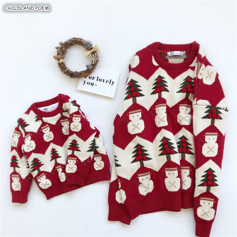 Family Matching Christmas Sweater Family Look Mother And Daughter Clothes Adult Kids Baby Sweater Pullover Mommy And Me Clothes