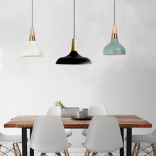 Modern Fashion Colorful Wood Pendant Lights Lamparas Minimalist Design Shade  Luminaire Dining Living Room Pendant Lamp Gallery