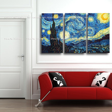 3Pcs hand painted Canvas painting War Art and post Vincent Van Gogh Famous Artist oil wall pictures for living room