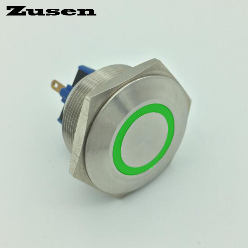 Zusen 30mm 2no2nc stainless steel ring illuminated latching push button switch(GQ30F-22ZE/G/12V/S) hot 16mm ring illuminated latching push button 2no2nc pm162f 22ze b 12v a ce rohs