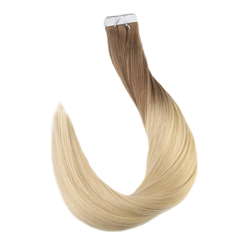 Full Shine Ombre Color Tape in Hair 100% Real Remy Human Hair Extensions 20 Pieces 50 Gram Per Package Glue on Hair Extension