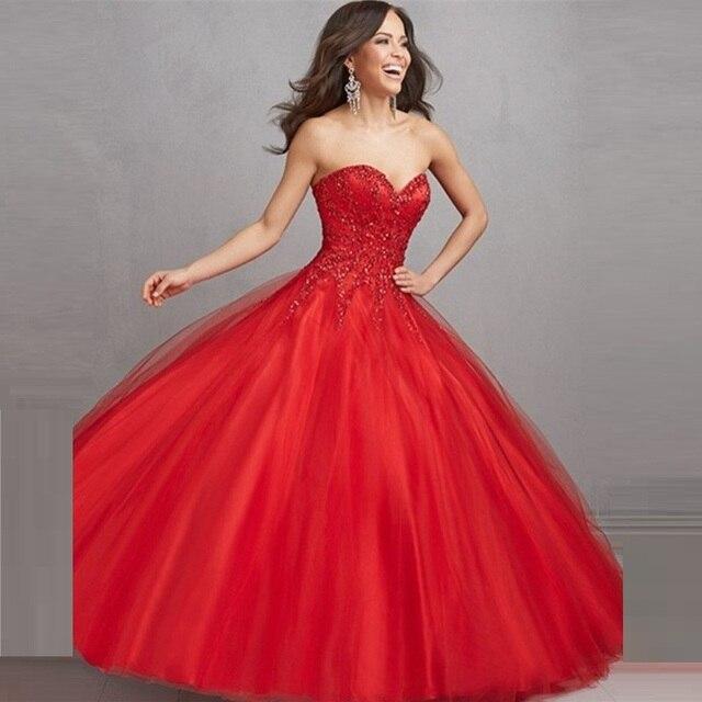 75c4f5da0142 2017 Sweetheart Beaded Ball Gown Sweet Fairy Red Quinceanera Dress Sweet 15  16 Dress Debutante Gowns Vestidos De Quinceaneras