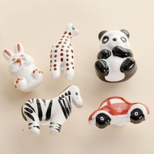 Children Dresser Drawer Knobs Pulls Handles Ceramic Knob Cabinet Door Furniture Cartoon Rabbit/Panda/Giraffe/Car/Zebra