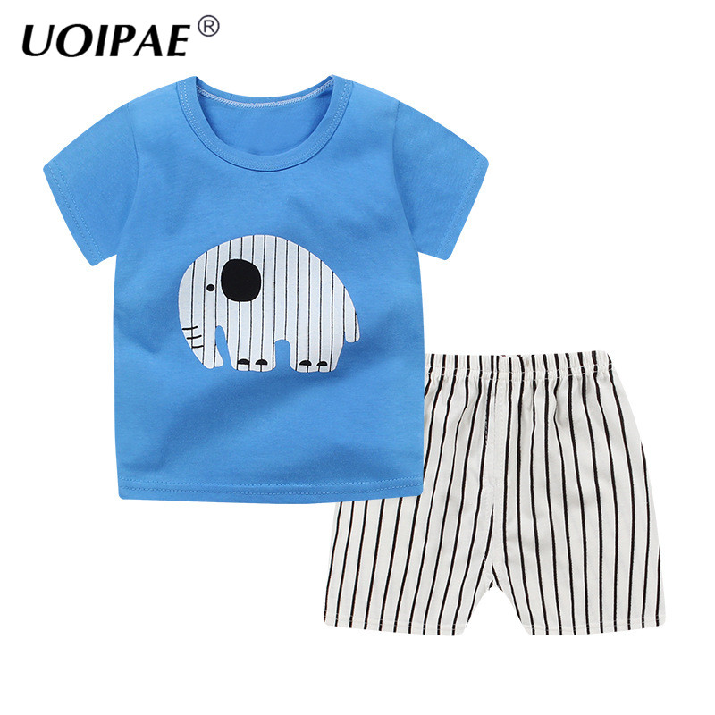 Summer Baby Boys Girls Clothes Suits 2018 Cartoon Elephant T-shirts+Shorts 2pcs Children Clothing Set Cotton Kids Outfits JTX09 summer baby boys clothing set cotton animal print t shirt striped shorts sports suit children girls cartoon clothes kids outfit