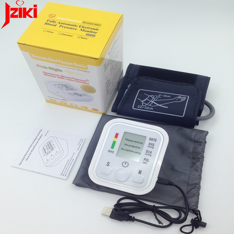 цены JZIKI voice Digital pulse arm bp Blood Pressure Monitors meters tonometer pulsometro sphygmomanometer cuff health care monitors