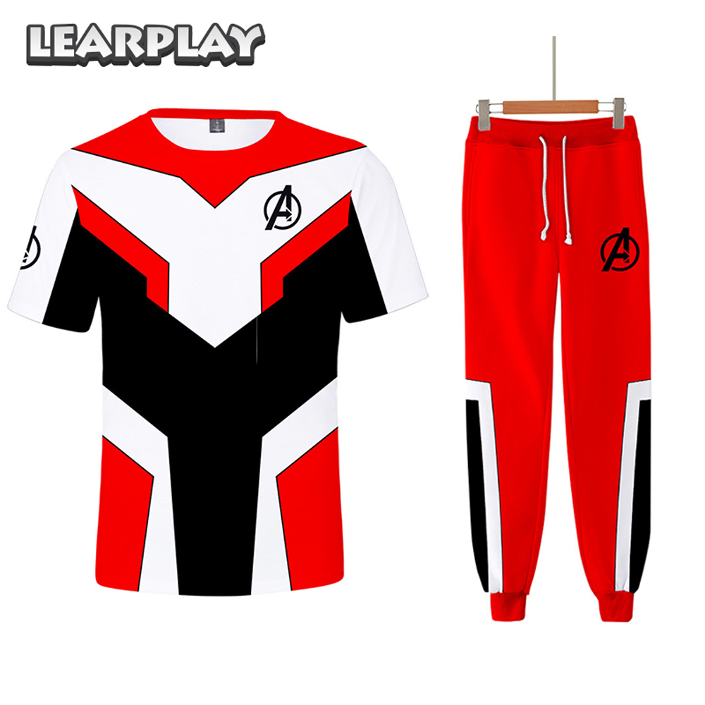 Endgame Advanced Tech Red Suits Super Hero Quantum Realm T shirt Pants Full Set 3D Print Cosplay Adults Short Sleeve Tee Shirt in Movie TV costumes from Novelty Special Use
