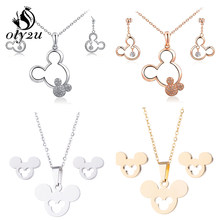 Olytu Cute Mickey Minnie Earrings for Women Kids Animal Mouse Mickey Necklace & Pendant Jewelry Set Girls Christmas Gifts Bijoux(China)