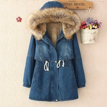 Female Zipper cardigan Denim fabric Casual windbreaker jacket thick Winter coat lamb's wool jacket female Winter Women