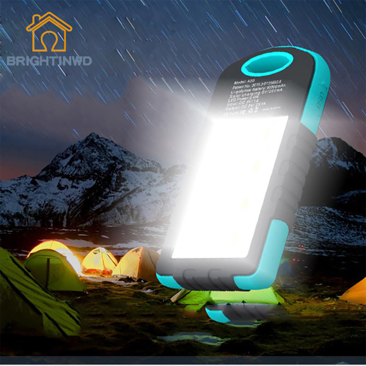 LED Solar Power Camping Lamp Outdoor Flashlight 3000mAh Bank For Phone Portable Lanterns BRIGHTINWD