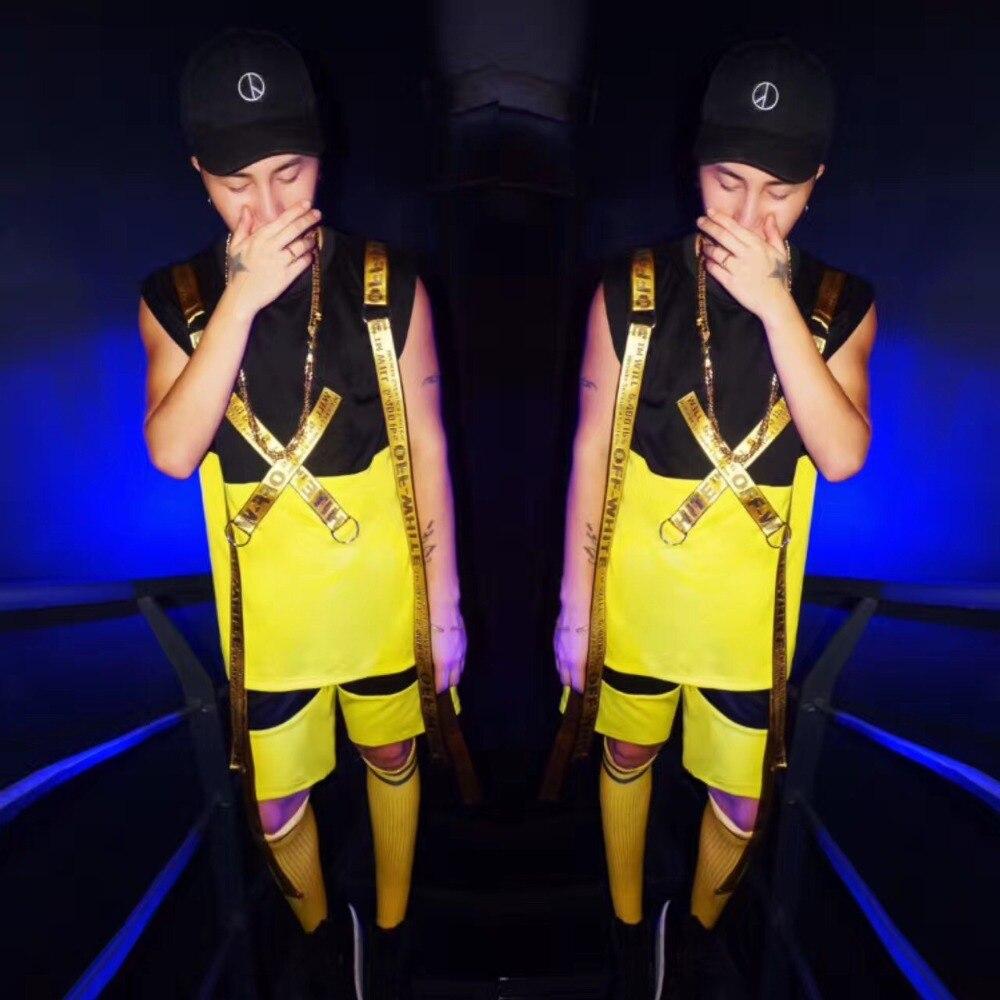 Nouvelle mode costume masculin ensemble carte de marée jaune hip hop alphabet posté sangle gilet ensemble discothèque chanteur dj performance ensemble