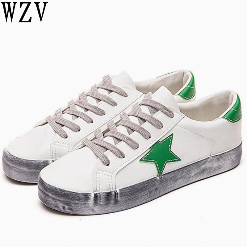 fdf57b5a Sucio verde Femenino Negro Color Mujeres Planos 2019 Tenis De Calzado Viejo  Casuales blanco Zapatos Cuero ...