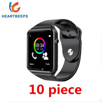 10 piece Factory wholesale price A1 bluetooth smart watch for android phone support SMI/TF men women sport wristwatch