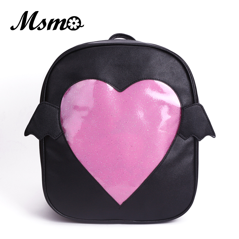 MSMO 'Ita-bag' Glitter Clear Flap Wing Backpack Japan Harajuku Girls Kawaii Bling Transparent Love School Bag Gift