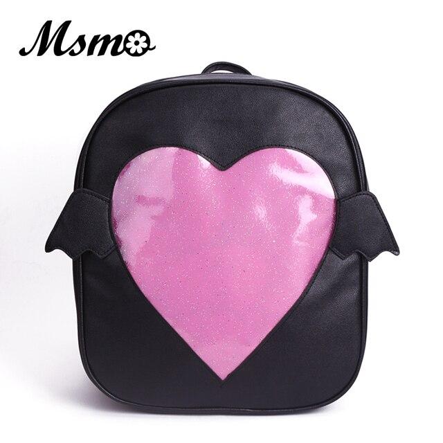 MSMO  Ita-bag  Glitter Clear Flap Wing Backpack Japan Harajuku Girls Kawaii  Bling Transparent Love School Bag Gift 4facc7a7d375
