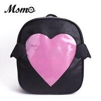 MSMO Ita Bag Glitter Clear Flap Wing Backpack Japan Harajuku Girls Kawaii Bling Transparent Love School