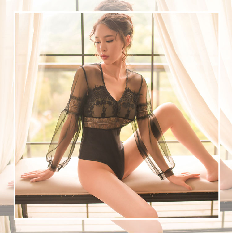 1cc823d29 Yhotmeng sexy lingerie bodycon lace jumpsuits for women 2018 fashion retro  lanterns sleeve transparent one piece black bodysuit. 1 2 3