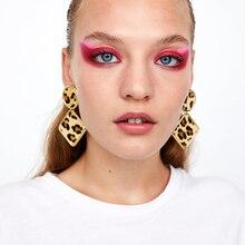 Dvacaman Za Geometric Round Square Drop Earrings Fashion Party Women Leopard Print Long Dangle Earrings Bamboo Maxi Jewelry AH2