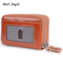 Pearl Angeli Small Credit Card Holder RFID Blocking Genuine Leather Women Wallet Business Card Pouch Coin Purse Man Clutch Purse