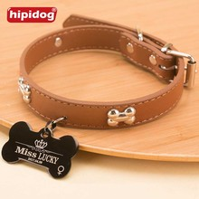Hipidog Leather Collar with Personalized Dog Tags Custom Cat Pet Name ID Tag Free Engraving for Small Medium Dogs Cats