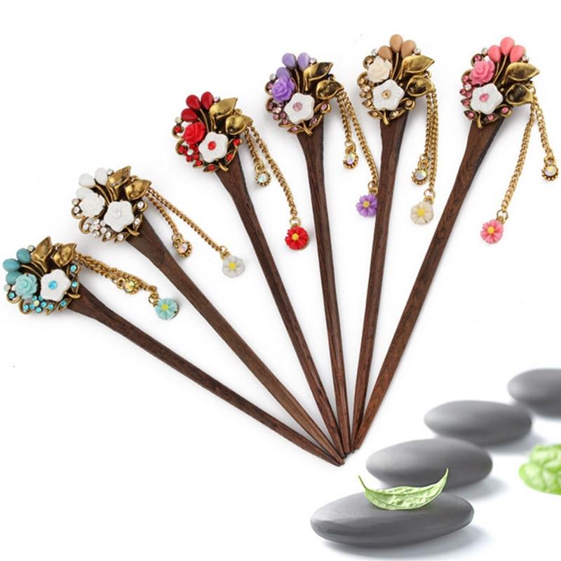 2018 Retro national winds Leaf shape natural Phoebe zhennan Zircon Hair sticks Chinese style Fashion jewelry For women nmfz-012