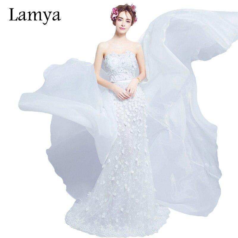 Lamya Removable Skirt Mermaid Wedding Dresses 2019 Newest Princess Elegant Appliques vestidos de noiva Luxury Bridal Gowns