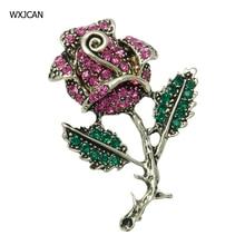 WXJCAN 4 styles vivid rose brooch flower Rhinestone brooch vintage brooches female jewelry 45mm*32mm B5486 vintage rhinestone embossed figure oval brooch