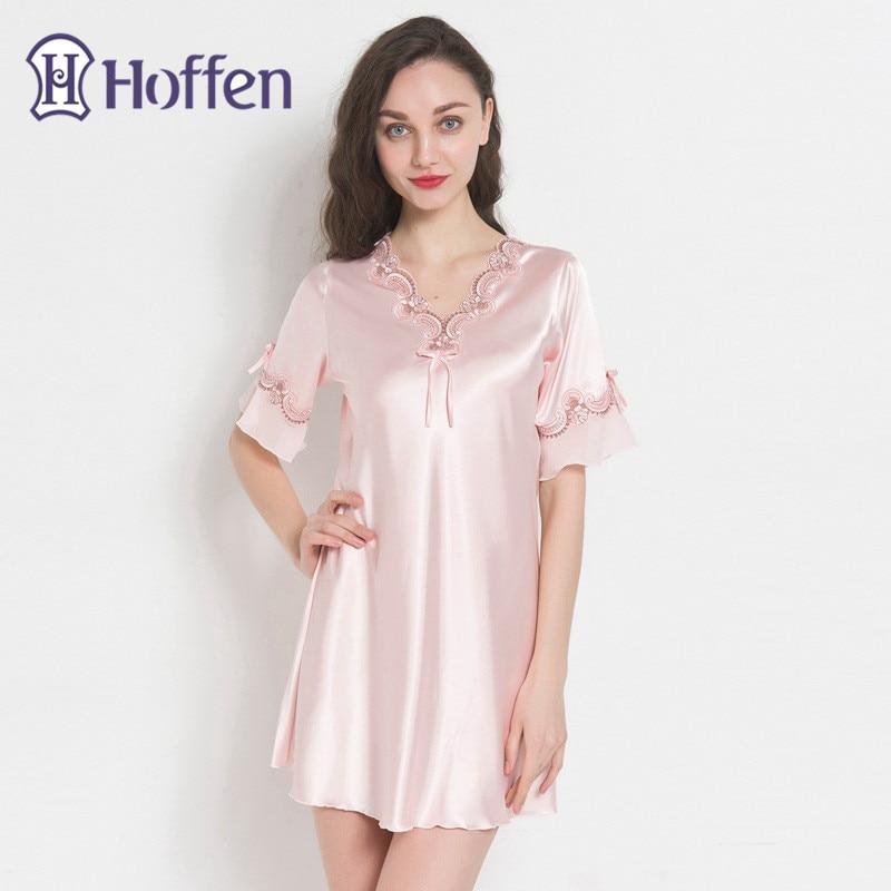 Hoffen 2018 New Women Faux Silk   Nightgown   V Neck Short Sleeve Mini Satin Sleepwear Summer Ladies   Sleepshirts   WS369