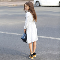 Retail 1Pcs Kids Girls Spring White Full Sleeve Lace Dress With Black Tie For School Teenager