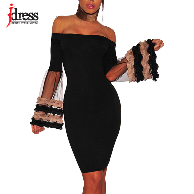 IDress Top Quality Black Layer Mesh Flare Sleeve Sexy See Though Mesh  Bodycon Dress Womens Sexy Dresses Party Night Club Dress eb7129d5ad53