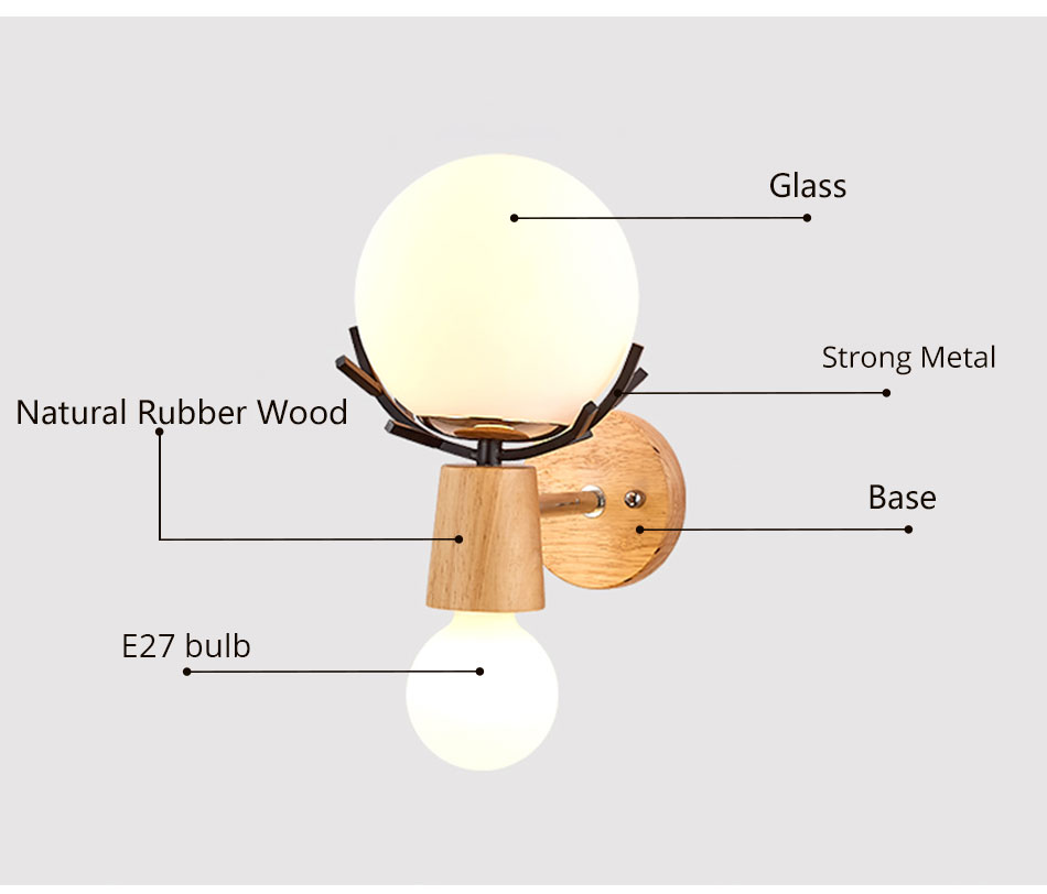 Creative LED Wall Light Sconces E27 Bulb Wood Retro Wall Lamps Hotel Home Living Room Bedroom bedside indoor lighting Fixture (5)