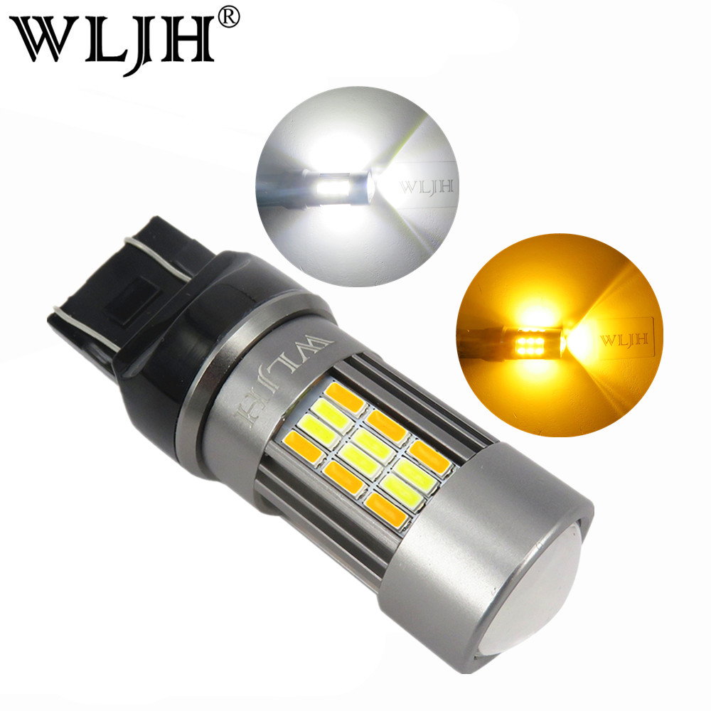 WLJH 2x Switchback LED Bulb White Amber T20 7443 LED 4014 SMD Auto Car LED DRL Daytime Running Light Parking Turn Signal Light cyan soil bay car auto t10 25w 30 led smd 4014 lamp parking reverse backup light w16w fog bulb ice blue red amber yellow white