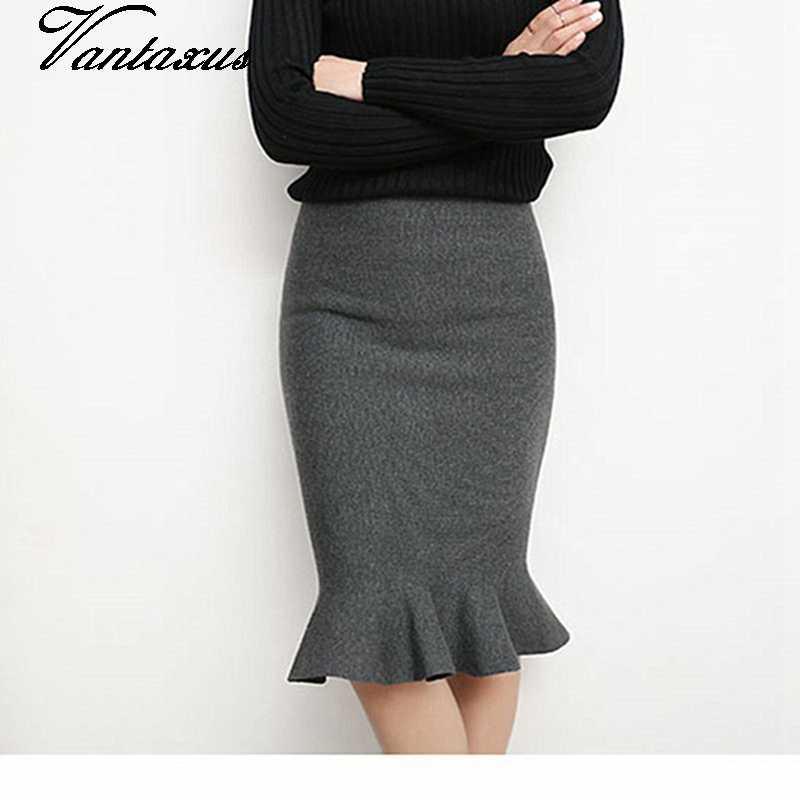 79b2e07d03c6 lady high waist mermaid skirt spring autumn knitted skirt for women fish  tail knee length pencil