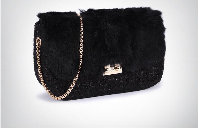 2018 new real rabbit fur women's' messenger bag small chain bag black color fur bag lady's shoulder bag one shoulder cross body faux fur duffle shoulder bag