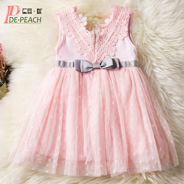 87b93aeb29fa DE PEACH 2018 Summer Newborn V-neck Baby Girls Dress Bow Lace Princess  Infant 1 Year Birthday Party Dress Baby Clothes 0-2 Years