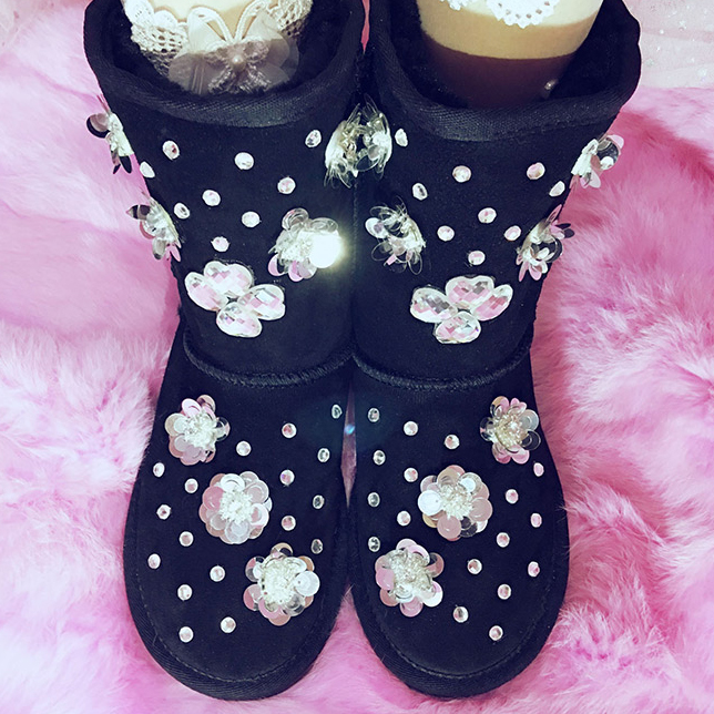 Free Shipping black Rhinestone crystal flowers baby girl's bling kids Snow Boots children warm rabbit fashion Winter shoes