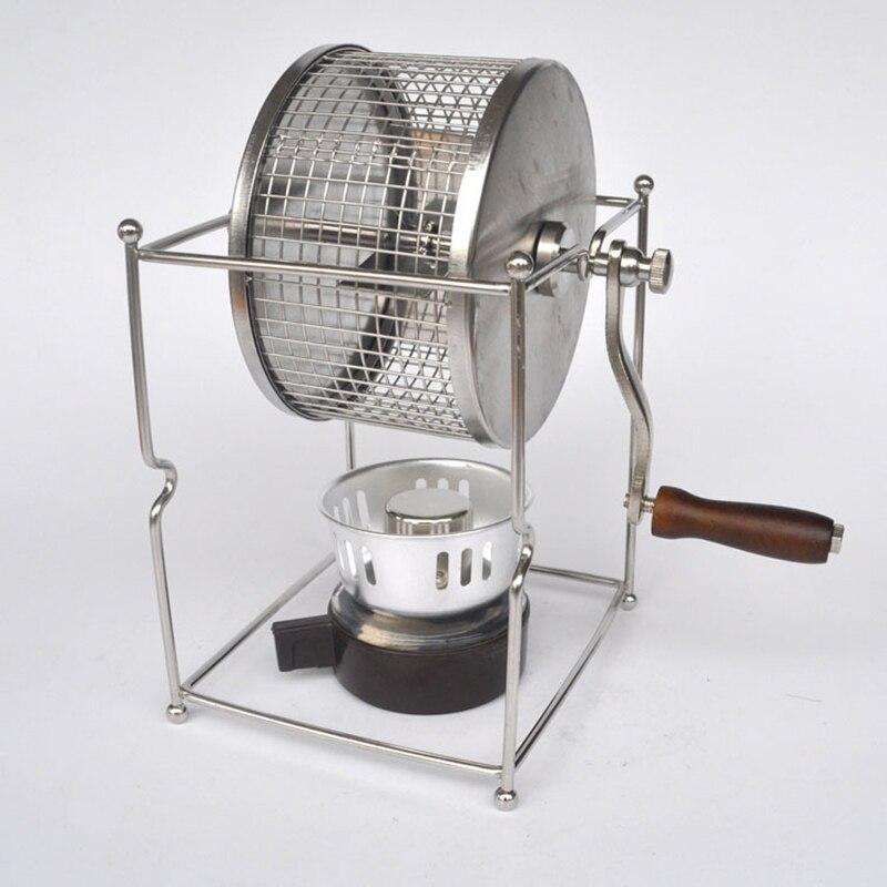 Poignée grain de café cuit machine grains torréfaction machine manuelle haricots torréfacteur mini fabricant de cuisson bricolage petits rouleaux en acier inoxydable