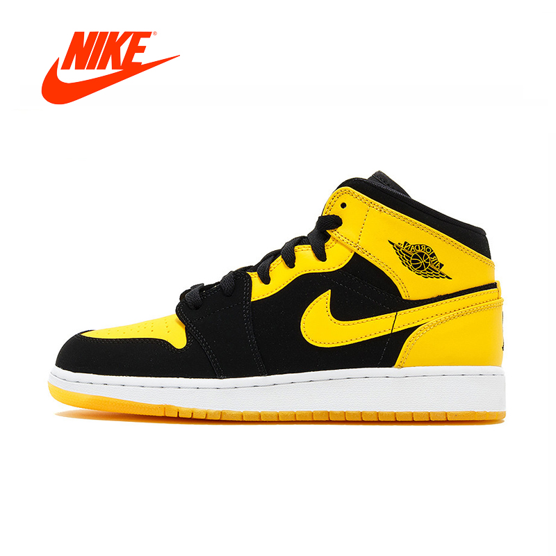 Original New Arrival Authentic Nike Air Jordan 1 Mid AJ1 Black Yellow Joe Men's Basketball Shoes Sport Outdoor Sneakers 554724