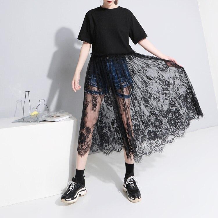 Regular Verano gris Tumblr Limited Europa Negro Camiseta Personalidad Manga Coreano Costura blanco Encaje Nueva Kpop cuello Mujer Nuevo O Llegada 2018 HrH7xng