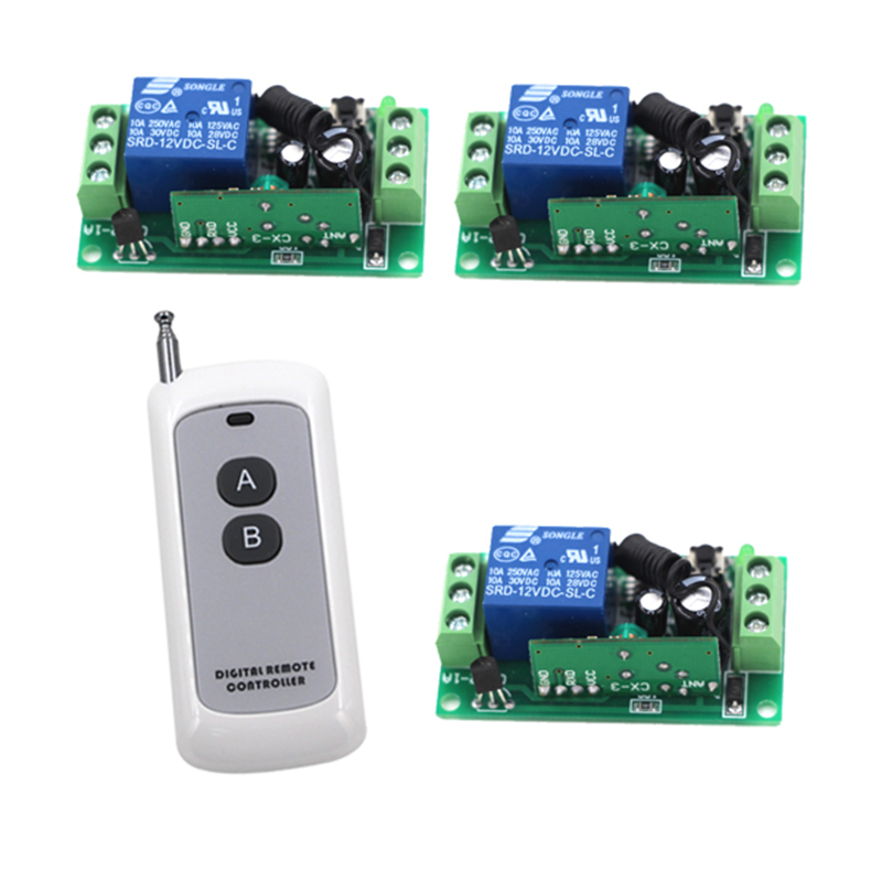 High Quality 12V 10A 1-Channel RF Wireless Remote Control Switch for Lighting 50M Range 3 Receivers 4207  high quality dc 12v 10a 1 channel wireless control rf 200m long range remote control 4pcs 315mhz switch sku 5367