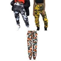 Women Camouflage Pants Orange Camo Pant With Pockets High Waist Hip Hop Girls Military Yellow Pant