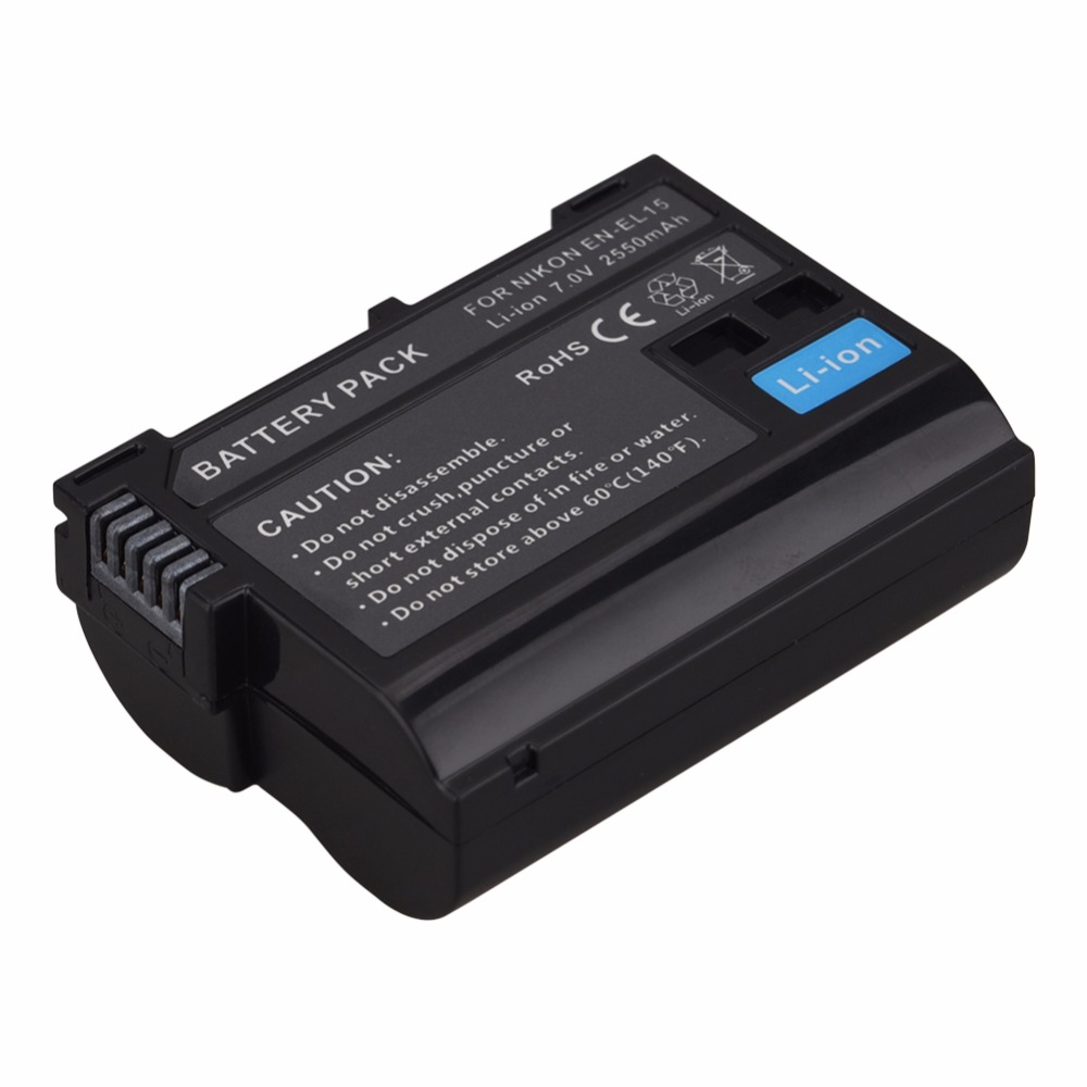 High Quality 2550mAh EN-EL15 ENEL15 EN EL15 decoded Camera Battery For Nikon DSLR D600 D610 D800 D800E D810 D7000 D7100 D7200 V1